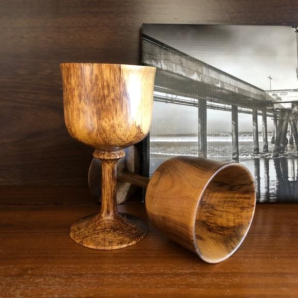 Vintage Acacia Wood Footed Cups Set of 2